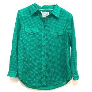Anthropologie Maeve Women's Green Button-Front Top